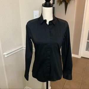 H&M black long sleeve button down shirt